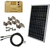WindyNation Complete 30 Watt Solar Panel Kit: 30W Polycrystalline Solar Panel + 20A Charge Controller + MC4 Connectors + Mounting Z Brackets for 12V Off Grid Battery Charging Boat RV Gate