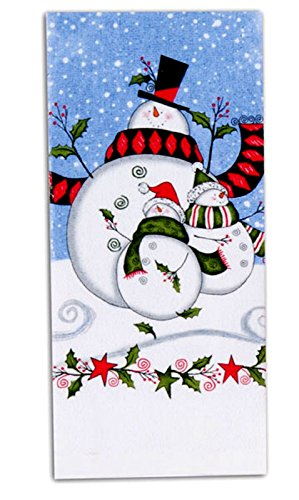 Holly Jolly Snowman Family Holiday 26 Inch Kitchen Terry Towel