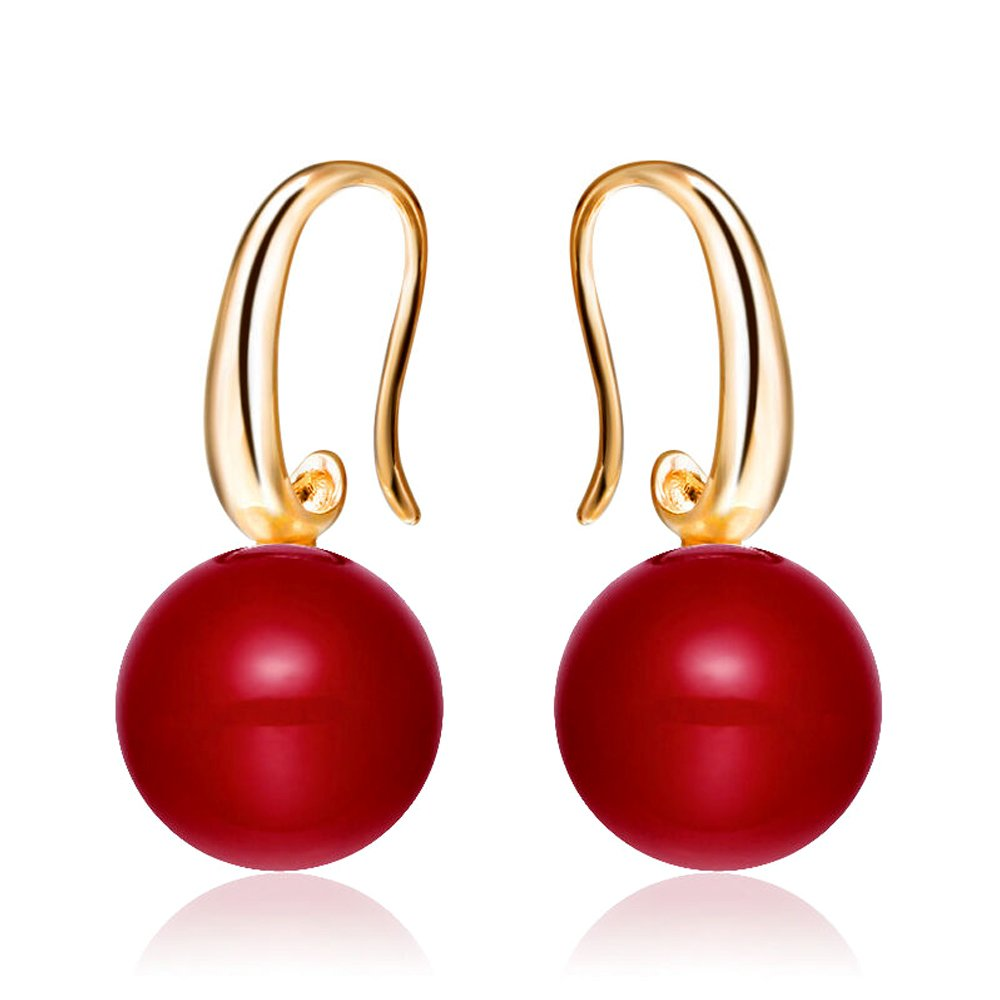 Merdia Charming Earrings Drop Simulated Pearl Hook Earrings 12MM Red ESIW77C3C4