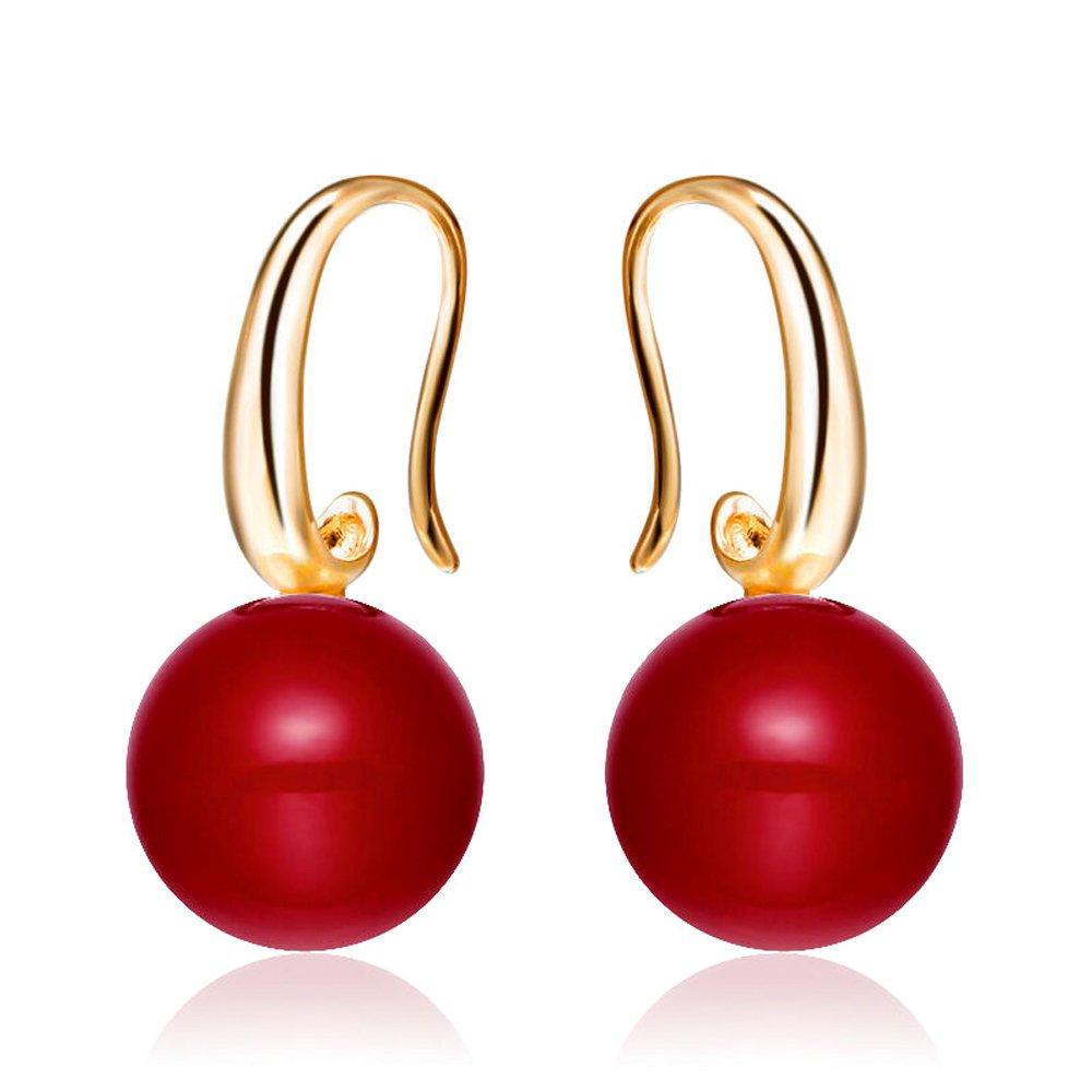 Merdia Charming Earrings Drop Simulated Pearl Hook Earrings 12MM Red