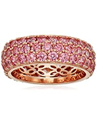 Rose Gold-Plated Sterling Silver Swarovski Zirconia Fancy Pink Three-Row Pave Round Cut Ring