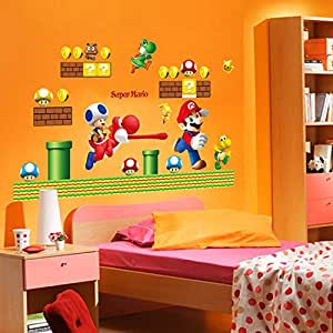 Cartoon Super Marie Wall Stickers Home Decor Cute Wall Sticker For Kids Rooms