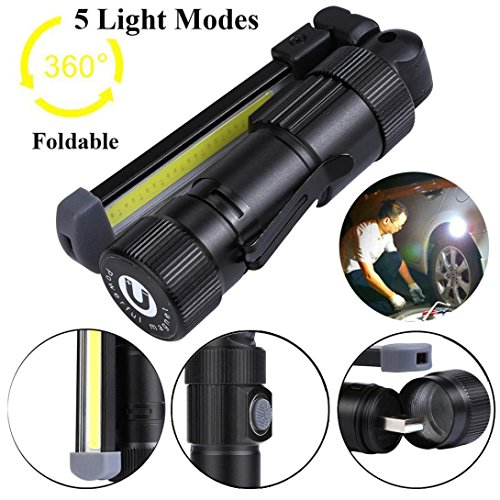 Price comparison product image Kanzd COB+LED Rechargeable Magnetic Torch Flexible Inspection Lamp Cordless Worklight (Black)