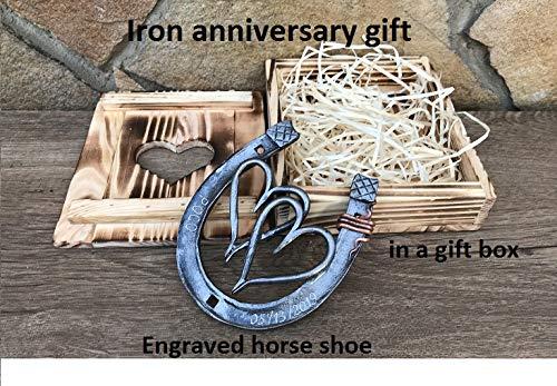 Engraved iron gift, 6th anniversary gift, iron anniversary, iron gift, gift box,two hearts, iron horseshoe,iron hearts,iron gifts,horse shoe