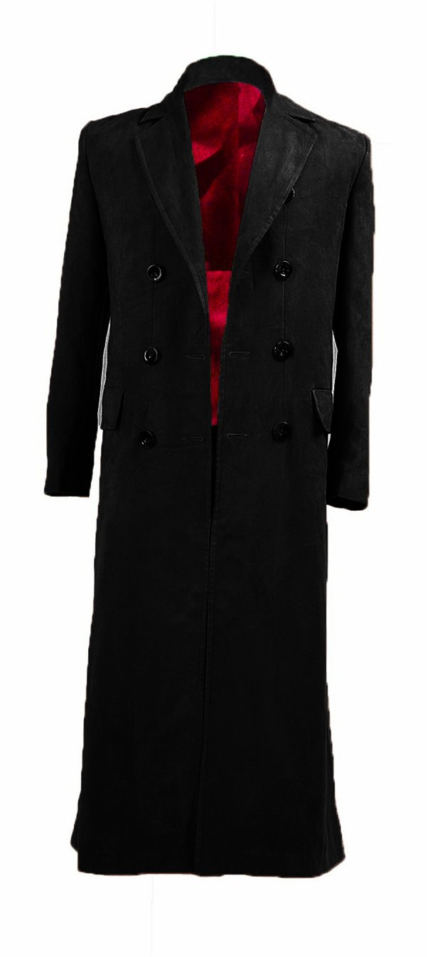 YANGGO Men's Trench Coat Costume Fashion Wool Long Coat (Men XX-Large, Black)