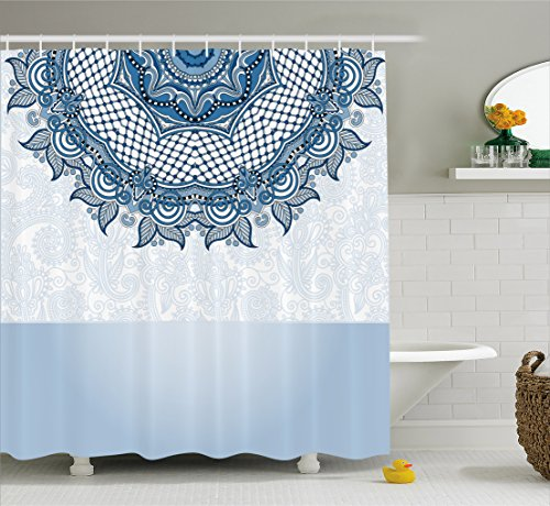 Vintage Shower Curtain by Ambesonne, Arabic Ethnic Lace Detailed Floral Design Wedding Inspired Art, Fabric Bathroom Decor Set with Hooks, 70 Inches, Sea Foam Slate Blue and White (Inspired Christmas Sea Decorations)