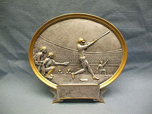 (Baseball Male Trophy Resin Oval Plaque Large 54503GS )