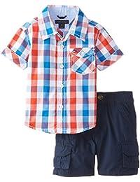 Baby Boys' Asher Yarn Dye Plaid Shirt and Cargo Short Set