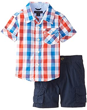 Tommy Hilfiger Baby Boys' Asher Yarn Dye Plaid Shirt and Cargo Short Set