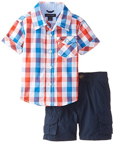 Tommy Hilfiger Baby Boys' Asher Yarn Dye Plaid Shirt and Cargo Short Set, Laser Beam, 6 Months