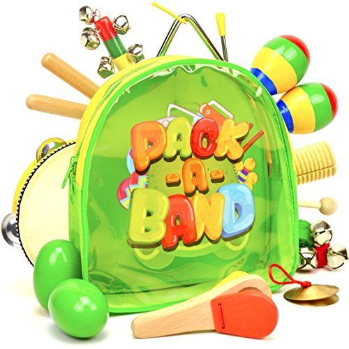 PACK A BAND Kids Musical Instruments for Toddlers and Preschool Children, 17-Piece Educational Toy Percussion Set for Boys and Girls with Storage Backpack by PACKABAND