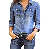 Bafaretk Fashion T Shirt Womens Casual Blouse Blue Jean Denim Jacket Long Sleeve Pocket Tops (XL, Blue)