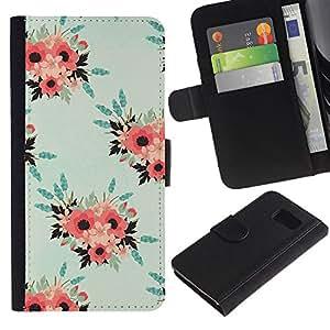 Samsung Galaxy S6 / SM-G920 Modelo colorido cuero carpeta tirón caso cubierta piel Holster Funda protección - Wallpaper Peach Pink Teal Vintage