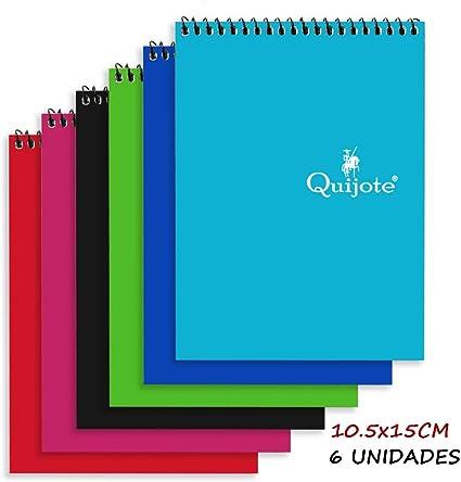 Quijote Paper World Pack 6 Cuadernos Espirales, Interior Cuadros ...