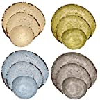 Melange 612409780256 612409780256 12-Piece 100% Melamine Dinnerware Set (Rustic Egg Collection )