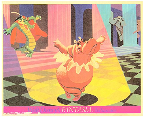 Walt Disney's Fantasia Original Lobby Card 1950's Re-Release Hippo & Dragon