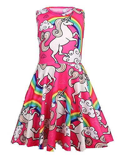 Girls Summer Dresses Sleeveless Casual Unicorn Dress A Line Swing Twirl Dress for Kids Aged 3-4 Years ()