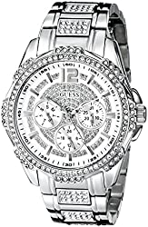 GUESS Women's U0286L1 Silver-Tone Glitz Watch with Link Bracelet