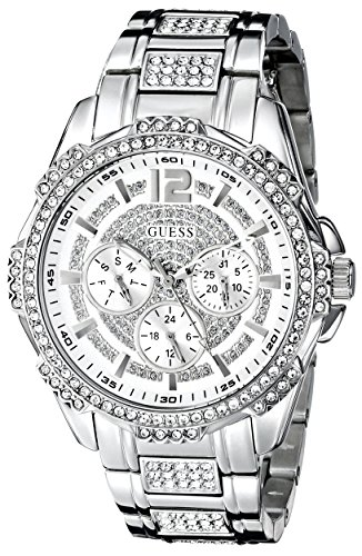 GUESS-Womens-U0286L1-Sporty-Silver-Tone-Stainless-Steel-Watch-with-Multi-function-Dial-and-Pilot-Buckle