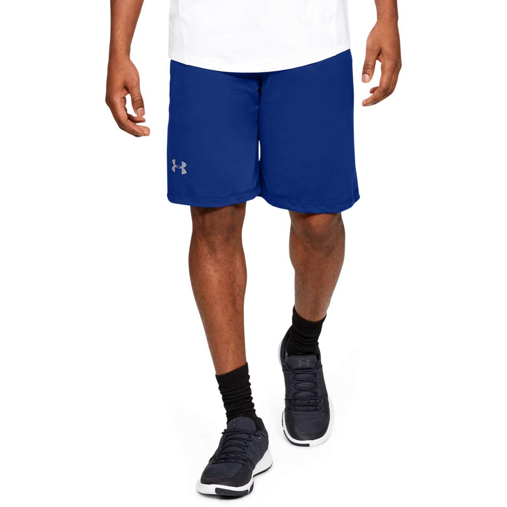 Under Armour Men's Raid 10-inch Workout Gym Shorts, Royal (400)/Steel, X-Large by Under Armour