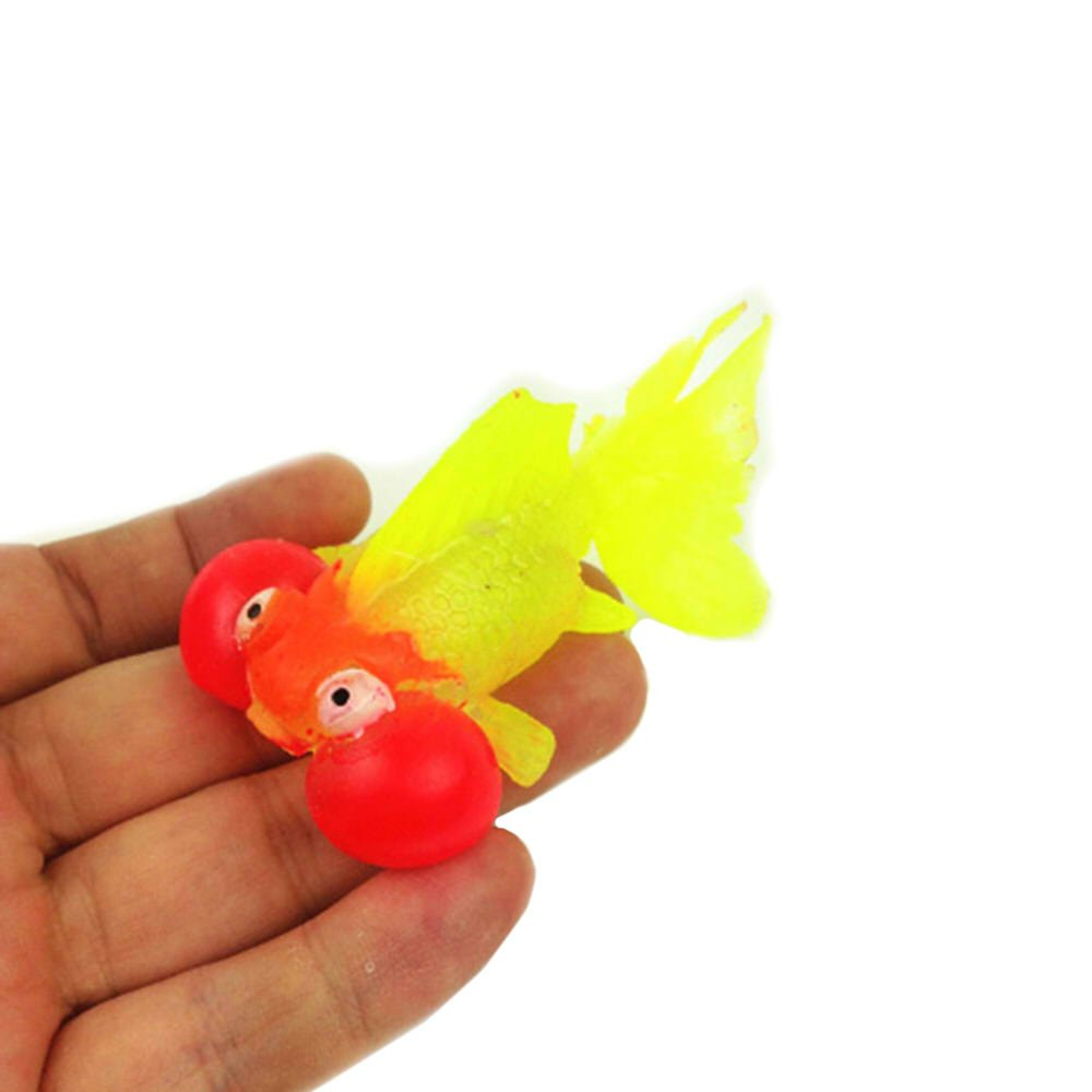 GOOTRADES 1 pc Glow in the Dark Silicone Artificial Goldfish Embellishment Fish Container Decor