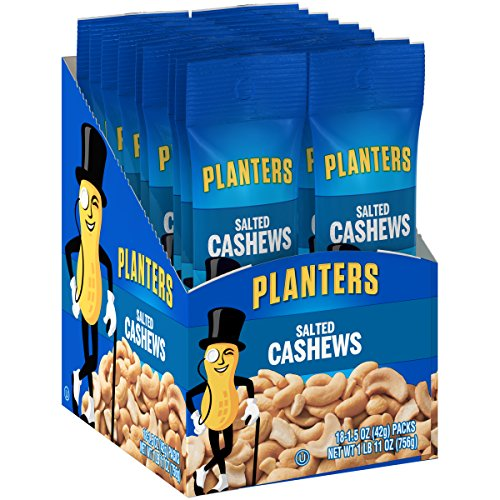 Four 3 Oz Honey - Planters Salted Cashews (1.5 oz, Pack of 18)