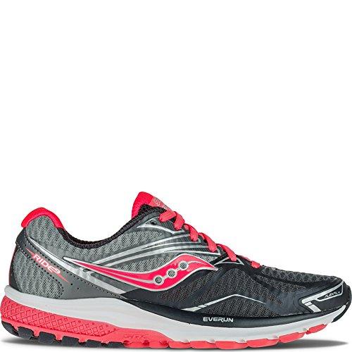 Saucony Women's Ride 9 Running Shoe, Grey/Charcoal/Combo, 7 M US