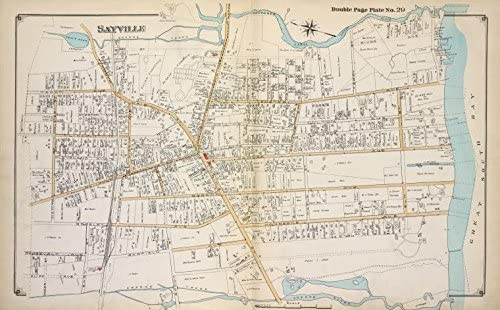 Historic 1915 Map - Sayville - Suffolk County ... - Amazon.com