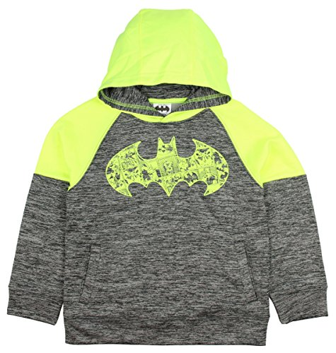 Faith Kids Sweatshirt - Bioworld DC Comics Dark Knight Batman Gray & Yellow Pullover Hoodie (X-Small 4/5)