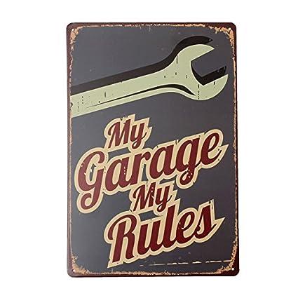 Amazon.com: KISSMYTWINS My Garage Tin Sign Vintage Metal Plaque ...