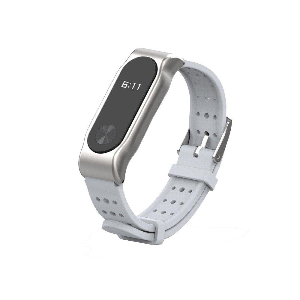 Correas xiaomi Band 2, ☀️Modaworld Pulsera de reemplazo Pulsera de Repuesto Muñ equera Pulsera Deportiva de Silicona Resistente al Agua de Repuesto para Xiaomi Mi Band 2 Smartwatch (Gris) Modaworld 2