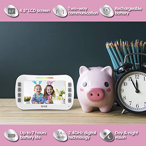 Video Baby Monitor with Wide Screen and Night Vision, Two Way Talk, Long Range Connection, No WiFi Needed, Caring for Elder, Home Security Protect by Axvue, Pink, Model E9620-P