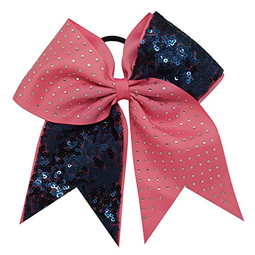 Special Beauty Nice Solid Sequins Rhinestone Boutique Grosgrain Ribbon Cheer Bow With Elastic Hair Bands For Cheerleading Girl Hair Accessories (Cheer Visor)