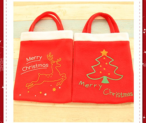 Mehome 2PCS Christmas Tree Santa Claus Deer Holiday Decorative for Christmas Toy Candy Gift Bag with Handles