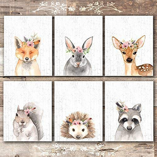 Woodland Animals Nursery Wall Art Prints (Set of 6) - Unframed - 8x10s (Home Decor Woodland)