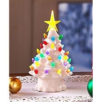 retro lighted tabletop christmas trees white small - Small Christmas Trees With Lights