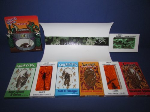 EDIBLE INSECTS ULTIMATE SAMPLER PACK of 2- Crickets 2- Larvets 1- Chocolate Covered Insects 1- Ant Candy 1- Amber Scorpion or Scorpion Sucker 1- Amber Insects in custom decorative box