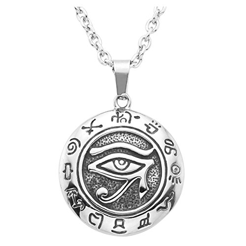 PiercingJ Mens Stainless Steel Pendant Necklace Silver Tone Egyptian Horus Eye Symbol of Protection Eye of Ra,24inch Chain