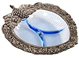 Blue Glass Heart Shaped Snack Dish Centerpiece Bowl with Filigree Borders