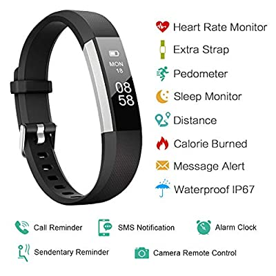 Lintelek Fitness Tracker, Slim Activity Tracker with Heart Rate Monitor, IP67 Waterproof Step Counter, Calorie Counter, Pedometer for Kids Women and Men from Lintelek