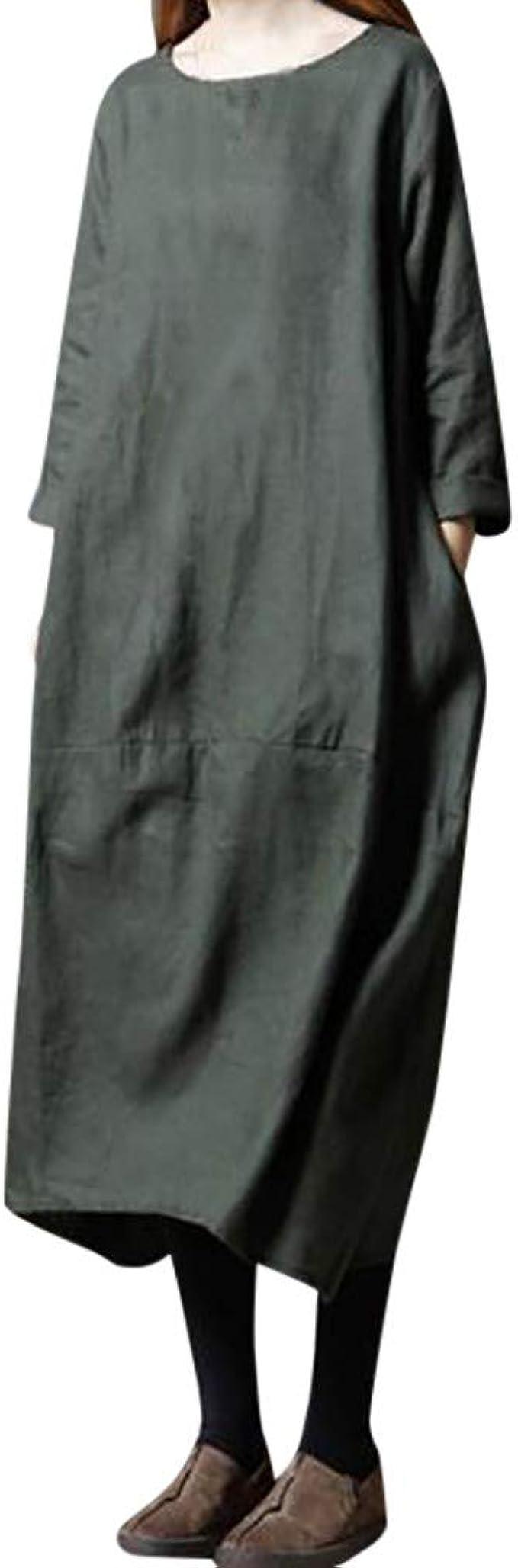 Vestido Suelto Talla Grande Vestidos Primavera Mujer Fiesta Rojo Holgados Algodón y Lino Negros Manga Larga Estilo Nacional POLP: Amazon.es: Ropa y accesorios