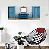 Liguo88 Custom canvas Antique Decor Empty Room With Two Doors Armchair And Simple Mirror With Golden Color Frame Bedroom Living Room Decor