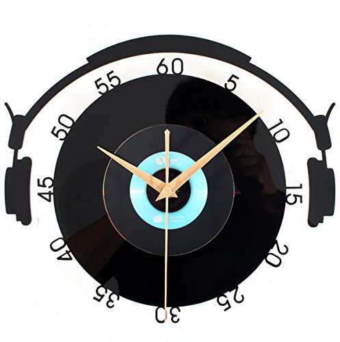 Imoerjia Stylish and Creative Retro Album Art Wall Clock, Wall Clock, 30Cm, Diameter Vinyl Cd Blue by Imoerjia