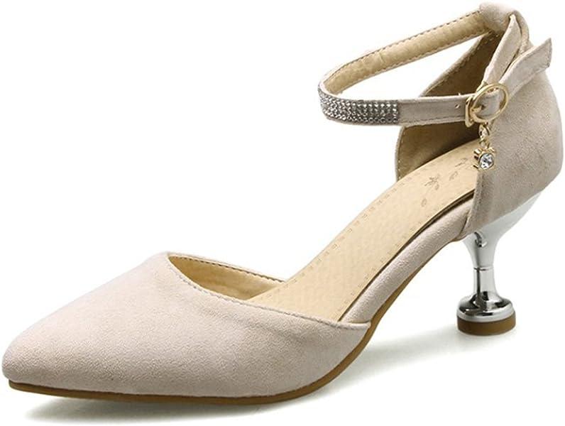 170edd46207 IDIFU Women s Sweet Closed Pointed Toe Mid Kitten Heels Pumps with Ankle  Strap (Beige