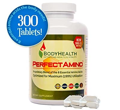 PerfectAmino (300 Tablets) 8 Essential Amino Acid Tablets with BCAA by BodyHealth™, Vegan Branched Chain Protein Pre/Post Workout, Increase Lean Muscle Mass, Boost Energy & Stamina, 99% Utilization