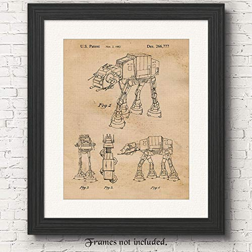 Vintage Star Wars AT AT Walker Patent Art Poster Prints, Set of 1 (11×14) Unframed Photo, Great Wall Art Decor Gifts Under 15 for Home, Office, Man Cave, Student, Teacher, Comic-Con & Movies Fan