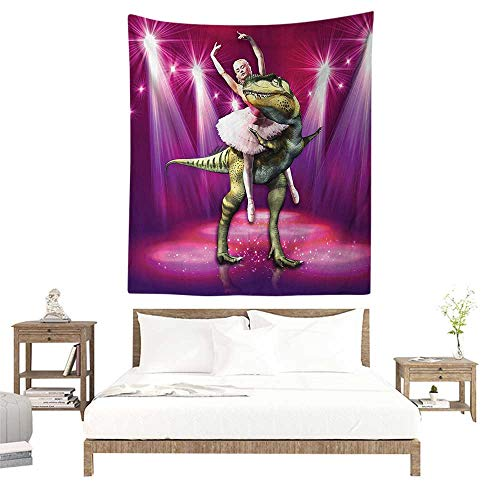 Wall Tapestries Hippie,Animal Decor,Ballerina Dancing with a Dinosaur Under Neon Lights Stage Unusual Image,Hot Pink Purple W51 x L60 inch Tapestry Wallpaper Home Decor