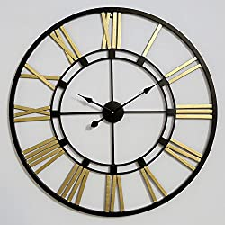 Decorlives 30 inch Black and Gold Color Live Extra Large Roman Wall Clock Handmade Wall Sculpture Art