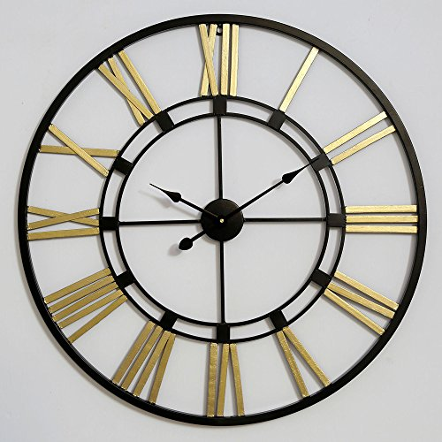 Decorlives 40 inch Black and Gold Color Live Huge Roman Wall Clock Handmade Wall Sculpture Art