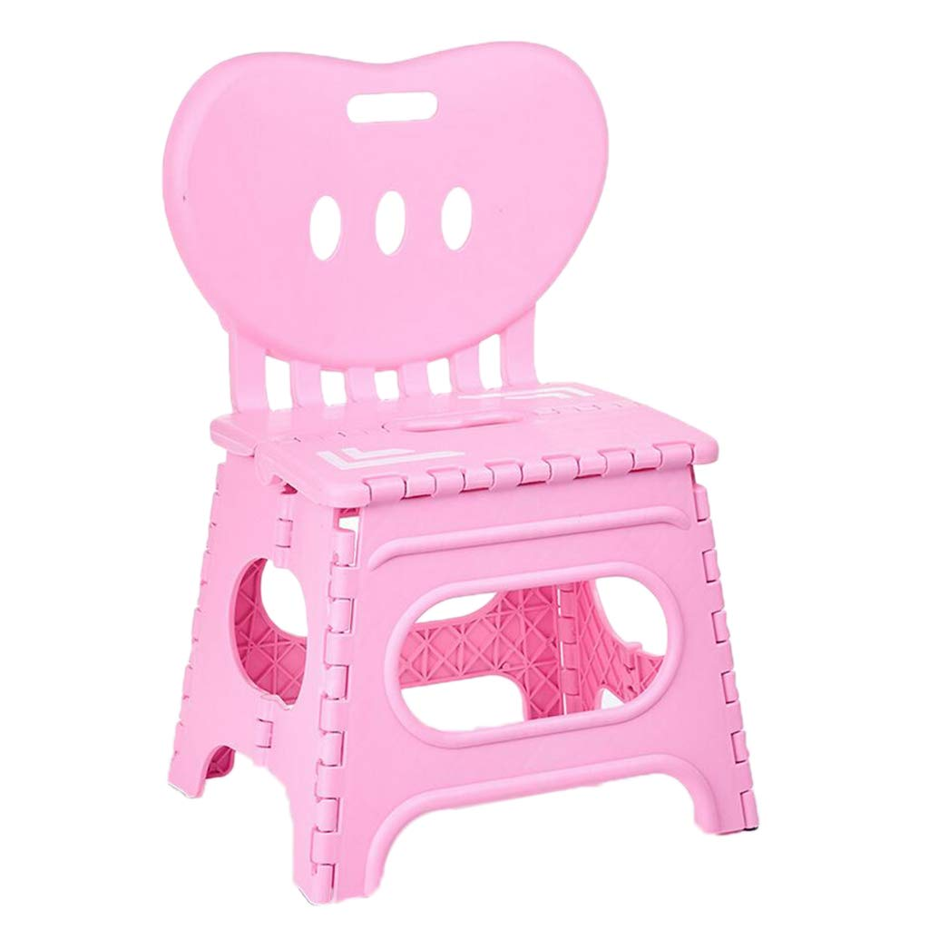 Flameer Kids Plastic Foldable Chair Folding Step Stool with Backrest Small/Large for Your Choice - Pink-L by Flameer